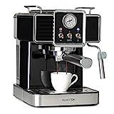 Klarstein Gusto Classico Espressomaker Espressomaschine Siebträgermaschine, Siebträger Kaffeemaschine 1350 W, 20 Bar Druck, Volumen Wassertank: 1,5 L,...