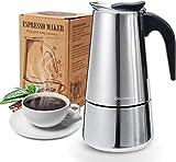 Godmorn Espressokocher, Kaffeekocher, Mokkakanne aus 430 Edelstahl, Espresso Maker für 4/6/10 Tassen, Stovetop Coffee Maker Induktion Herde geeignet, 4 Tassen...
