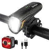 Deilin Upgraded LED Fahrradlicht Set, bis zu 70 Lux Fahrradlampe, Zugelassen USB Aufladbar Fahrradbeleuchtung, IPX5 Wasserdicht Fahrradlicht Vorne Frontlicht&...