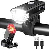 OMERIL Fahrradlicht Set Aluminium LED Fahrradlichter StVZO-Zulassung Fahrradbeleuchtung USB Aufladbar und Wasserdicht Fahrradlampe LED mit Frontlicht und...