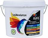 RyFo Colors Seidenlatex 6l (Größe wählbar) - hochwertige zertifizierte Profi Wandfarbe, seidenmatte Innen-Dispersion, Latexfarbe, weiß, scheuerbeständig,...