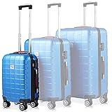 Monzana Handgepäck Trolley Koffer | Zwillingsrollen | TSA Schloss | Größe M | Blau | Reisekoffer Rollkoffer