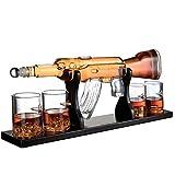 VATRIO Gun Große Decanter Set Kugelgläser, Elegante Gewehr Whiskey Decanter 1000Ml Mit 4 Kugel Whiskygläser Und Mohogany Holzsockel, Große Geschenke Für...