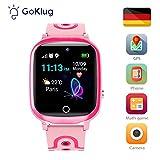 Smartwatch Kinder GPS Tracker Kinderuhr Mädchen Digital Smart Watch Kinder GPS Uhr Kinder Telefonieren Smartwatch Kinder Telefon Rosa Wasserdicht Deutsch...