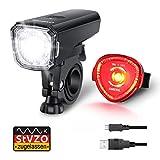 Fahrradlicht Set, OMERIL Fahrrad Licht StVZO Zugelassen Fahrradbeleuchtung LED Wasserdicht USB Aufladbar Fahrradlichter Fahrradlampe mit Frontlicht und...