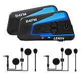 LEXIN B4FM 2X Motorradhelm Intercom, BluetoothMotorrad Intercom, Bluetooth-Kommunikations System für Motorräder, Motorrad Kommunikation System mit FM,...