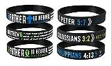 Rinspyre 6 Pack Kolosser 3: 2, 1 Peter 5: 7, Vaterunser Bibelvers Silikon Armbänder Christian Religiöse Schmuck Geschenke für Männer Frauen
