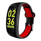 SP Smartwatch für Damen & Herren - wasserdichte (IP68) Fitnessuhr (rot-schwarz) mit Sport-Funktionen, Fitness Tracker & Schrittzähler