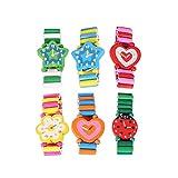 Toyvian 6 stücke Holz Armbanduhren Spielzeug Armband Uhr Modell für Kinder Geburtstag Party Favors (Zufällige Farbe)