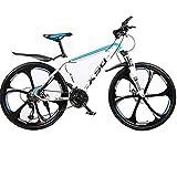 24 Zoll Mountainbike, 21/24/27 Gang-Schaltung Hardtail Bike, Gabelfederung Scheibenbremsen MTB 6 Schneidräder Fahrrad Erwachsene,White Blue,24In 21Speed