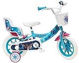 Disney Frozen Fahrrad 12 Zoll (30,5 cm) mit 2 Bremsen, Korb vorne & Puppenhalterung hinten + 2 abnehmbare Stabilisatoren für Mädchen, Türkis, Weiß und...