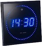 Lunartec LED Uhr: LED-Funk-Wanduhr mit Sekunden-Lauflicht durch Blaue LEDs (Digitale Wanduhren beleuchtet LED)