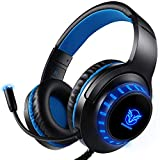 Pacrate PC Gaming Headset für PS4 Xbox One PC, Rauschunterdrückung Over-Ear LED PS4 Headset - Kristall Stereo-Klang Gamer Kopfhörer PS4 mit Sensiblen...