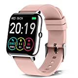 Smartwatch, Rinsmola Fitnessuhr Damen Herren 1.4 Zoll Fitness Tracker mit Pulsuhr und Schlafanalyse, Schrittzähler Stoppuhr Musiksteuerung, Kamerasteuerung,...