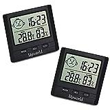 Upworld Hygrometer mit Uhr 2 Stück, Mini Thermometer Hygrometer Digital Innen/Ausen Messgerät, Hygrometer Feuchtigkeit für Zuhause, Büro, Pflegezimmer, und...