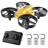 ATOYX Drohne für Kinder, 3D-Flip, Headless-Modus, Höhe Halten, 3 Batterien, EIN-Tasten-Rückkehr, Kinder und Anfänger (Gelb)