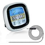 Grillthermometer Digital, BBQ Fleischthermometer Backofen, Bratenthermometer Grill, Ofenthermometer mit Timer Funktion, Küchenthermometer Magnetisch