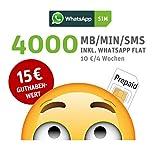 WhatsApp SIM Prepaid [SIM, Micro-SIM, Nano-SIM] - Starterpaket mit 15 EUR Guthabenwert, ohne Vertragsbindung, Option mit 4000 Einheiten (MB/MIN/SMS),...