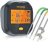 Inkbird Grillthermometer , Grillthermometer Wlan IBBQ-4T mit IPX3 Spritzfest, WiFi Fleischthermometer mit 4 Temperaturfühlern + Magnethalter,...