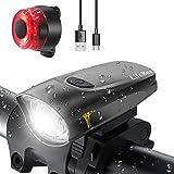 LIFEBEE LED Fahrradlicht, USB Fahrradbeleuchtung Fahrradlicht Vorne Rücklicht Set, Wasserdicht Fahrradlichter Set Fahrrad Licht Fahrradleuchtenset Fahrradlampe...