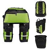 Lixada Multifunktion Fahrrad Gepäcktaschen, 3 in 1 Reißfest 70L Groß Fahrradtaschen für den Rücksitz (Grün)