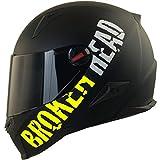 Broken Head BeProud Ltd. Motorradhelm - Schlanker Integralhelme Mit Schwarzem Zusatz-Visier - Matt-Schwarz & Neon-Gelb - Größe L (59-60 cm)