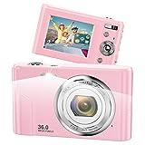 Vnieetsr Digitalkamera, 1080P Full HD Fotokamera, 36,0 Megapixel 16X Zoom-Kompaktkamera mit 2,4 Zoll IPS-LCD-Bildschirmtaschenkamera für Kinder, Schüler,...