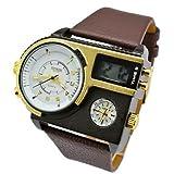 LZX Mode für Männer Militäruhr echtem Leder Stunden Stahlgehäuse 30atm wasserdichtes Sportdigitaluhren (Farbe sortiert) , Rotgold