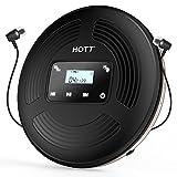 HOTT CD903TF Wiederaufladbarer tragbarer Bluetooth-CD-Player mit FM-Sender für Reisen, Zuhause und Auto, mit Stereokopfhörern, Anti-Shock Funktion, schwarz