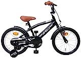 Amigo BMX Fun - Kinderfahrrad für Jungen - 16 Zoll - mit Handbremse, Rücktritt, Lenkerpolster und Stützräder - ab 4-6 Jahre - Schwarz