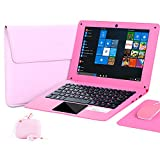 Windows 10 Laptop Notebook 10.1 Zoll Quad Core Mini Netbook Computer Netflix YouTube HDMI WiFi mit Laptoptasche, Maus, Mauspad, Kopfhörer (Rosa)