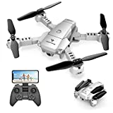 SNAPTAIN A10 Mini Faltbare Drohne mit 720P HD-Kamera FPV WiFi RC Quadcopter mit Sprachsteuerung, Gestensteuerung, Flugbahn, Kreisflug, 3D-Flips, G-Sensor,...