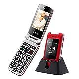 Seniorenhandy Artfone Klapphandy Dual Bildschirm 2,4 Zoll Flip Mobiltelefon Senioren-Handy Großtastenhandy ohne Vertrag mit großen Tasten Notruftaste...