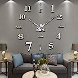 Vangold Moderne Mute DIY große Wanduhr 3D Aufkleber Home Office Decor Geschenk - 2 Jahre Garantie (Silber-14)