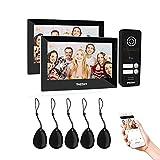 TMEZON WLAN 2 Familienhaus IP Video Türsprechanlage, Gegensprechanlage System mit 2 * 7 Zoll 1080P Touchscreen Monitor, Verdrahteter türklingel kamera,...