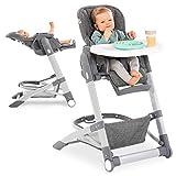 Hauck Baby-Hochstuhl Grow Up mit Liegefunktion ab Geburt - mit Tisch, Rollen, klappbar, mitwachsend und höhenverstellbar - Grey Melange