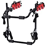 HOMCOM Fahrradheckträger für 3 Fahrräder Fahrradträger Heckträger faltbar mit Sicherheitsseile Metall + Kunststoff