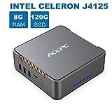 AK3 Mini-PC, 8GB DDR4 120GB eMMC, Intel Celeron J4125 Prozessor 4 Kerne Desktop-Computer, Windows 10 Pro (64 Bit), 4K 60 Hz, UHD Graphics 600, HDMI- und...