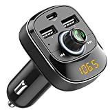 Cocoda Bluetooth FM Transmitter fürs Auto, Drahtlosen FM Radio Transmitter Adapter Car Kit mit Freisprechfunktion, Dual USB und Type C Ladeanschlüssen, Musik...