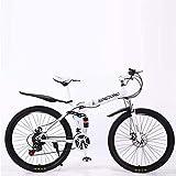 Aoyo Mountainbike Falträder, 24-Gang-Doppelscheibenbremse Fully Anti-Rutsch, leichte Alurahmen, Federgabel, mehr Farben-24 (Color : White1, Size : 24 inch)