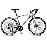 M-YN 14 Speed Road Bike 700c Räder Rennrad Fahrrad Dualscheiben Bremsfahrräder(Color:Weiß)