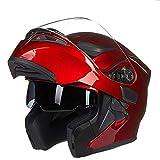 Motorradhelm Winter Unisex Vollüberzogener Motorradhelm Voller Helm Doppellinse Vier Jahreszeiten Motorradhelm (Color : C, Size : XL)
