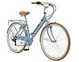 BIKESTAR Alu City Stadt Fahrrad 28 Zoll | 18 Zoll Rahmen, 7 Gang Shimano Damen Rad, Hollandrad Retro Bike mit V-Bremse und Gepäckträger | Blau | Risikofrei...