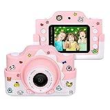 Funkprofi Kinderkamera WiFi 2 Objektive 24 MP HD 2.0' IPS-Bildschirm mit Aufklebern und Cartoon Schutzhülle Digitalkamera für Kinder als Geschenk ( Rosa)