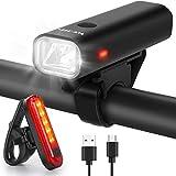 WQJifv Fahrradlicht LED Set, StVZO Zugelassen USB Wiederaufladbare Fahrradbeleuchtung fahrradlichter Set, Wasserdicht Frontlicht und Rücklicht Set Licht für...