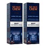 2 x NO HAIR CREW Premium Enthaarungscreme für den Körper – gründliche und sanfte Haarentfernung für Männer, 200 ml (Set 2 x 200 ml)