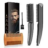 Bartglätter Kamm für Männer, 2 in 1 Multifunktion Elektrische Bartbürste Haarglätter, Bard Glätten Set, Prämie Ionischer Bürste, Ionischer Haarglätter...