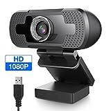 EIVOTOR Full HD Webcam 1080P Computer Kamera mit Mikrofon USB PC Webcam Laptop Streaming Kamera Bussiness Webcam für Konferenz, Zoom, Skype, Google Hangouts,...