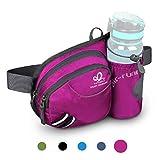 WATERFLY Taille Tasche mit Flaschenhalter Damen und Herren, Atmungsaktiv Hüfttasche mit Reflektorstreifen für Laufen Radfahren Camping Klettern Reisen für...