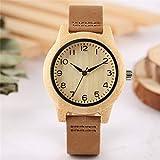 LCDIEB Moderne Bambus Damenuhr Klassische arabische Zifferblatt Lederarmband Lässige Damen Holz Armbanduhr Kreative Holzuhr Geschenke